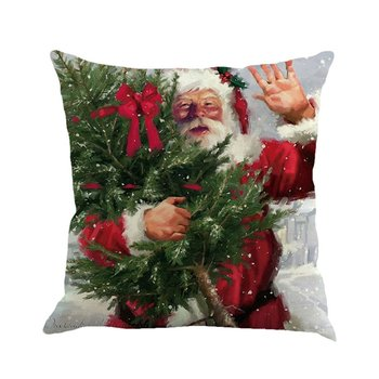 Christmas Linen Pillowcase Snowman Santa Claus Pillow Case Decorative Pillows For Sofa Sofa Cushion Cover Decorations For Home image