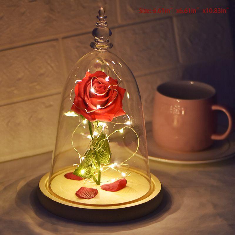 Красота и чудовище вечный цветок розы в фляге свадебное украшение Искусственные цветы в стеклянной крышке на День Святого Валентина подарок - Цвет: Creative