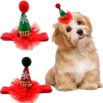 Zwierzęta pies kot boże narodzenie kapelusz cekiny nakrycia głowy boże narodzenie Party chluba czapka z regulowanym paskiem pies Cosplay kostium tanie i dobre opinie Stałe