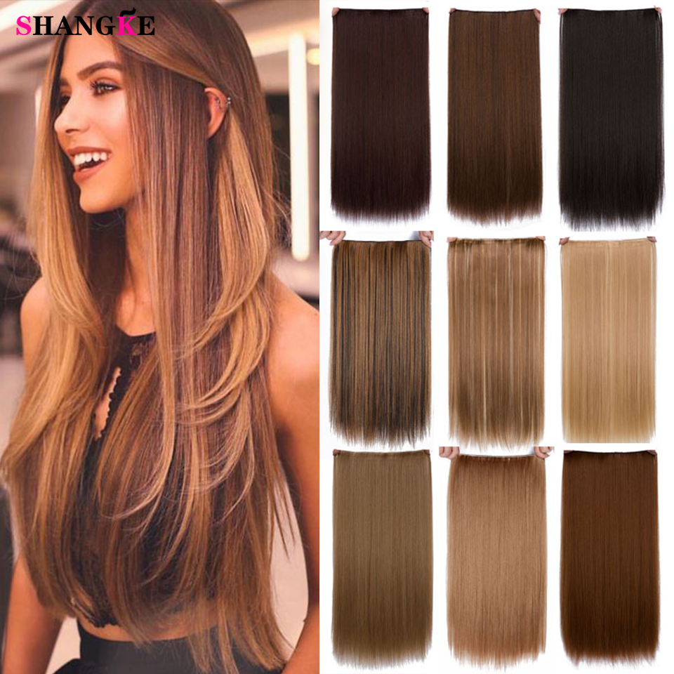 SHANGKE 24'' Long Straight Ombre Clip In Hair Extensions Clip Black Brown High Tempreture Synthetic Pink Halo Hair Extension