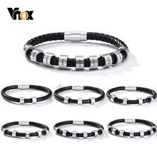 Vnox Personalisieren Gravieren 2-9 Perlen Charms Namen Armbänder für Männer Nach, Der Familie Inspirational Schmuck Geschenke für Ihn