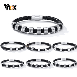 Vnox Personalize Engrave 2-9 Beads Charms Names Bracelets for Men Custom Making Family Inspirational Jewelry Gifts for Him