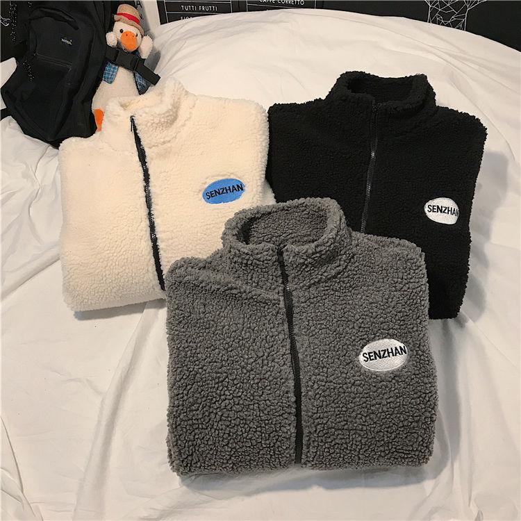H4d0fa571242341bc96444d801c757945b 2020 Faux lamb wool coat winter clothes women zipper sweatshirt all-match thinner stand collar cardigan harajuku hoodie women