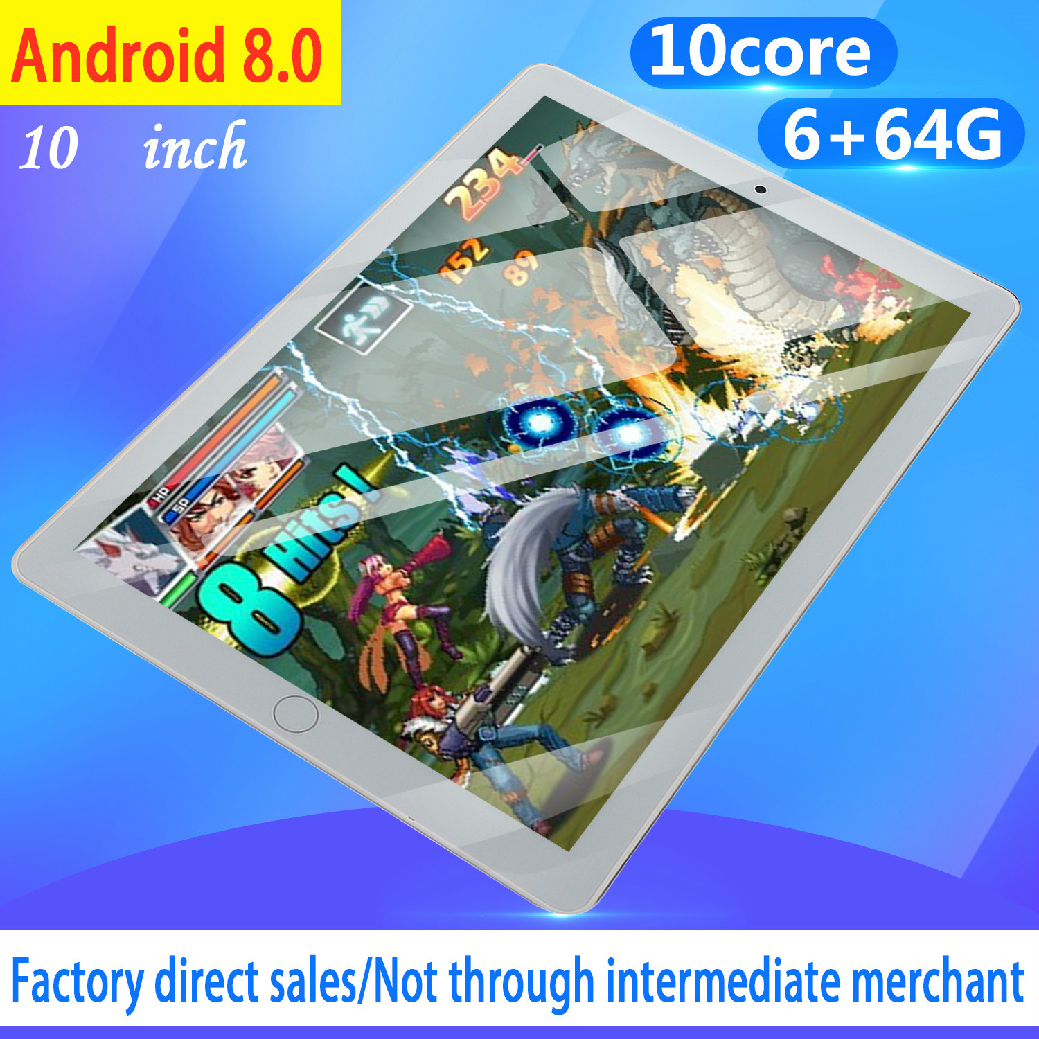 10  Inch Android8.0 Tablet Pc Octa Core Original Powerful 6GB RAM 64GB ROM IPS Dual SIM Phone Call Tab Phone Pc Tablets