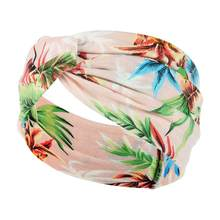 Moda verão impressão bandana meninas boêmio vintage faixas de cabelo bandagem turbante cruz acessórios para o cabelo banda d6e0