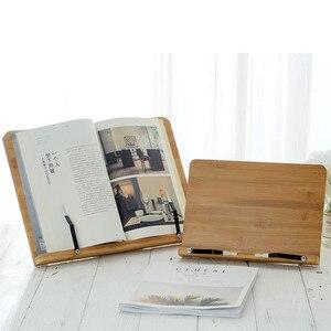 Image 2 - Tablette de lecture, support de livre pliable, réglage de la hauteur, pour salle détude, cuisine, support de livre pliable, Pages fixes en bambou