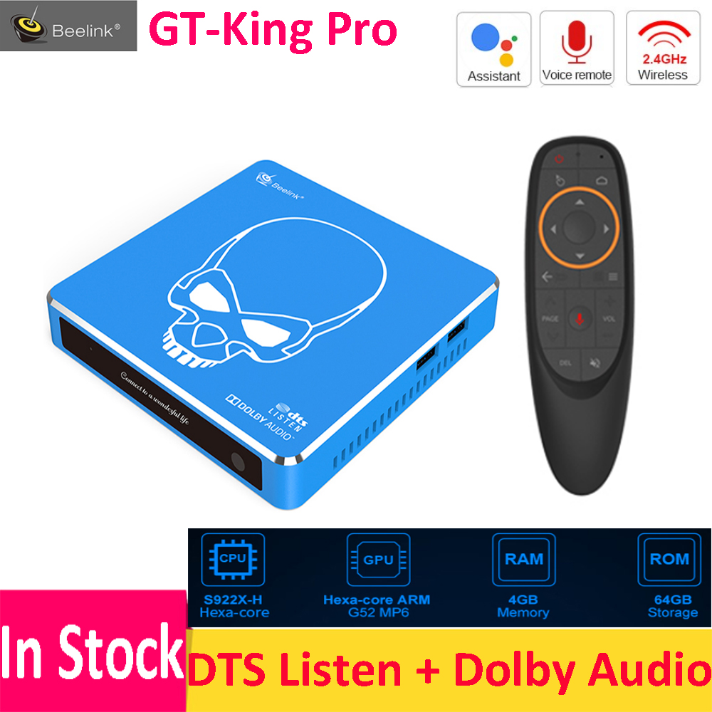Beelink GT-King Pro Hi-Fi Lossless Sound TV Box With Dolby Audio Dts Listen Amlogic S922X-H Android 9.0 4GB 64GB Voice Remote(China)