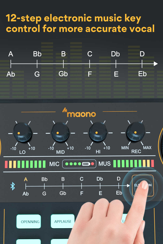 Maono Am200 Professional 12 Kinds Of Electronic Sound Music Mixer Audio Professional Digital Audio Mixer For Pc Karaoke Youtube Microphones Aliexpress