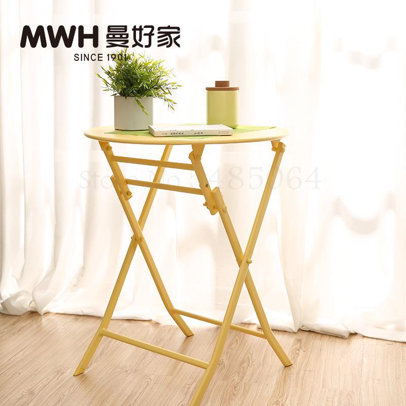 Железный маленький стол, складной небольшой квадратный стол, простой маленький круглый стол, журнальный столик для спальни, маленький обеденный стол для балкона