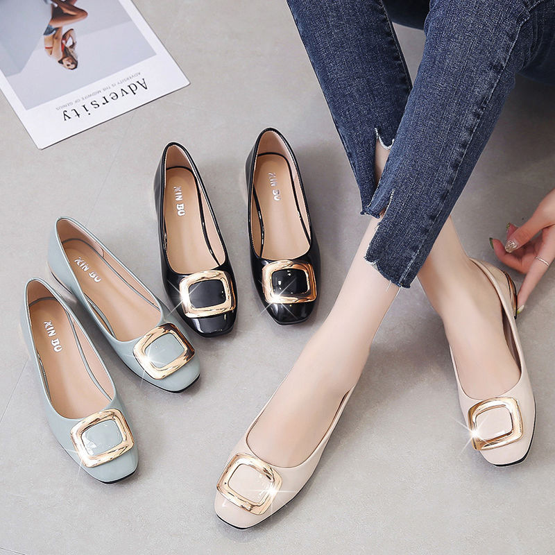 Spring And Autumn New Style Korean-style Low Heel Shoes Shallow Mouth Flat Heel Square Head WOMEN'S Pumps Square Buckle Slip-on