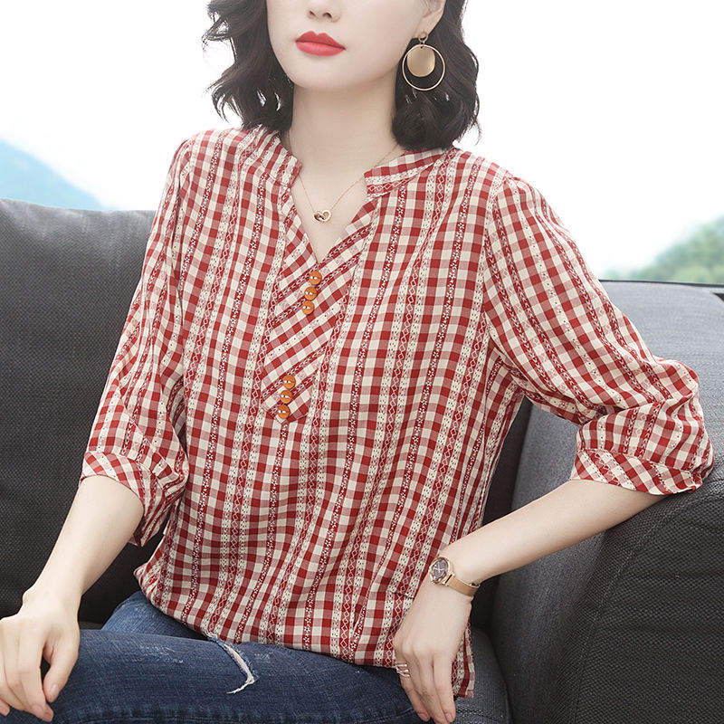 Plus Size Women Spring Summer Style Blouses Shirts Lady Casual Half Sleeve V-Neck Plaid Printed Blusas Tops ZZ0259 Women Women's Blouses Women's Clothings Size: 4XL Color: Red