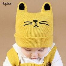 Hepburn Brand Cartoon pattern Children Hats Kids Baby Girl/Boy Print Winter Soft Warm Wool Cotton Beanie Newborn Cap