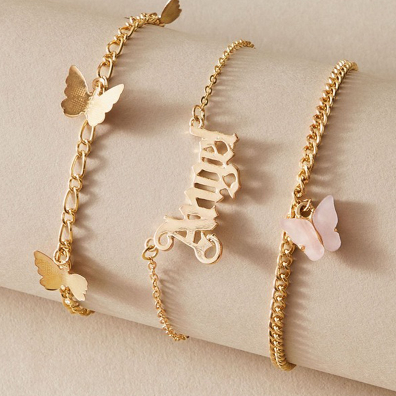 Multilayer Gold Link CHain ANGEL Letter Chain Ankle Bracelet on Leg Foot Jewelry Bohemia Butterfly Anklets for Women Accessories