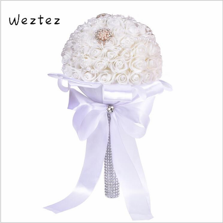 Crystal Pearls Wedding Bouquet Rose Bridesmaid Wedding Foam Flowers Rose Bridal Bouquet Ribbon Fake SPH180