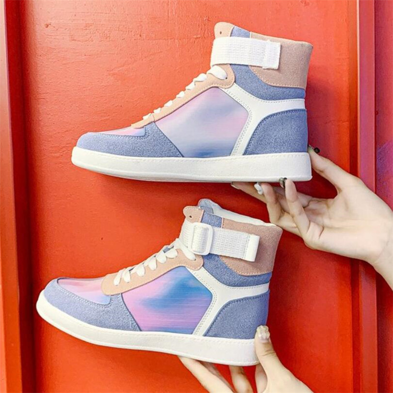 Mhysa 2019 Autumn Women Fashion Sneakers High Top Hook Loop Lace Up Platform Casual Shoes flat Heel Women's vulcanized shoes 29
