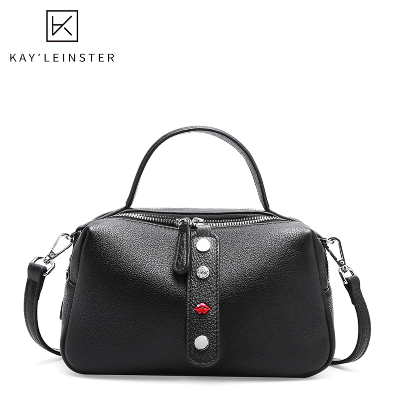 New Genuine Leather Boston Women Cross Body Bags Stylish Casual Designer Shoulder Bag Female Large Capacity Handbags Daily Bag