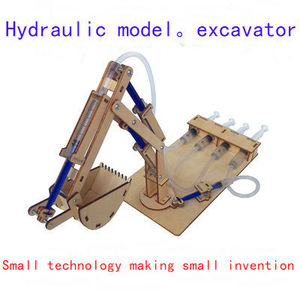 Technical gizmo hydraulic excavator. Drawing robot, climbing rope robot diy model science experiment toy Worm robot