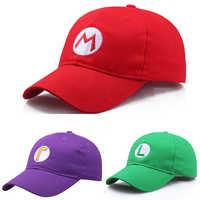 Gorra de béisbol con bordado de Super Mario de Anime, gorras universales ajustables y cómodas para hombre y mujer con dibujos animados