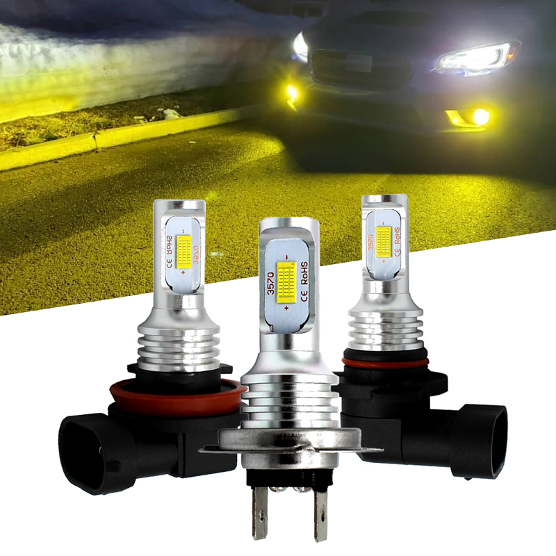 H7 H11 H8 H9 H1 H3 Car LED Fog Light Bulbs 9006 HB4 Auto Driving Fog Lamps 6000K 3000K Golden Yellow 12V 24V LED Auto Light Bulb