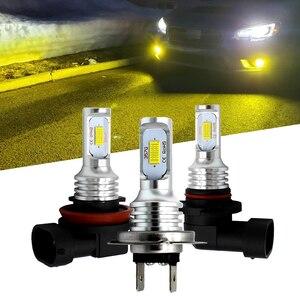 Image 1 - H7 H11 H8 H9 H1 H3 車のledフォグ電球 9006 HB4 自動車運転フォグランプ 6000 18k 3000 3000kゴールデンイエロー 12v 24 12vのledオートライト電球