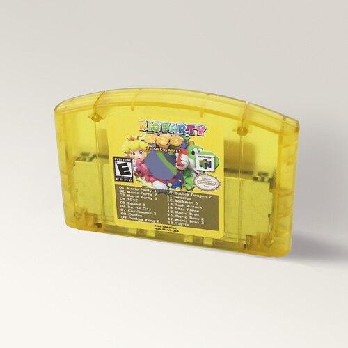 Süper 18 in 1 Mari parti 1 2 3 veya süper Mari 64 kesmek safir eksik askısı Doki 64 bit oyun kartuşu abd versiyonu NTSC