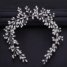 Trendy Wedding Hair Accessories Baroque Rhinestone Crystal Headband Silver Color Pearl Hair Band Bride Hair Accessories Handmade pearl and diamond headband rhinestone hair accessories flower hair bride jewel hair band black crystal ladies jewelled headband