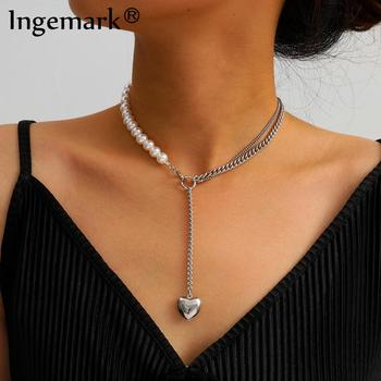 Gothic Baroque Pearl Pendant Choker Necklace Women Wedding Boho Punk Lover Heart Lariat Silver Color Long Chain Jewelry