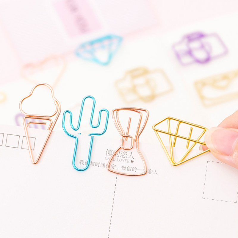 10pcs/lot Mini Diamond Rose Gold Paper Clip Metal Bookmark Memo Clips Kawaii Stationery School Office Supplies