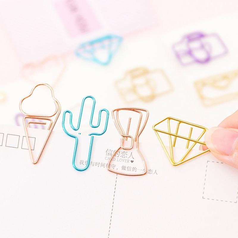10pcs/lot Mini Diamond Rose Gold Paper Clip Metal Bookmark Memo Clips Kawaii Stationery School Office Supplies