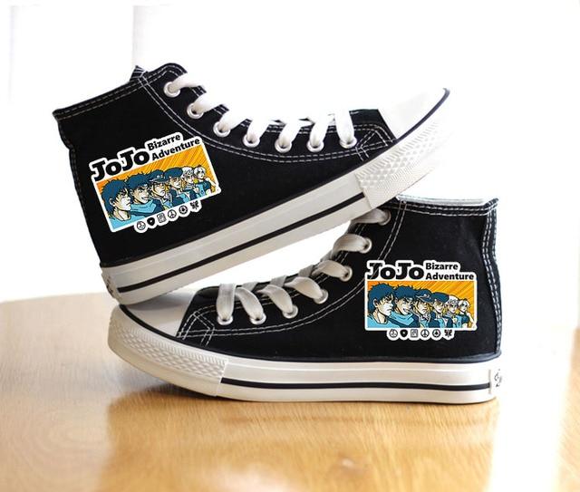 Unisex Anime Bizarre Adventure Shoes Cosplay VENTO AUREO Black Canvas Shoes plimsolls Duck Shoes