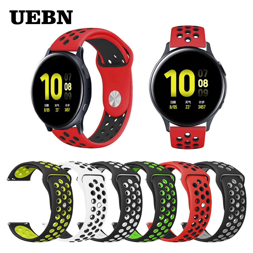 UEBN 20mm Silicone Replacement Breathable Band For Samsung Galaxy Watch Active 2 44mm 40mm Wrist Strap Bracelet Smart Watchbands
