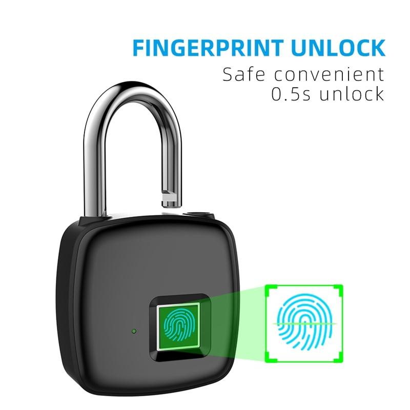 P30 Fingerprint Padlock Smart Multi-Function Anti-Theft 5V Lock Red, Green And Blue Three Lamp Recognition