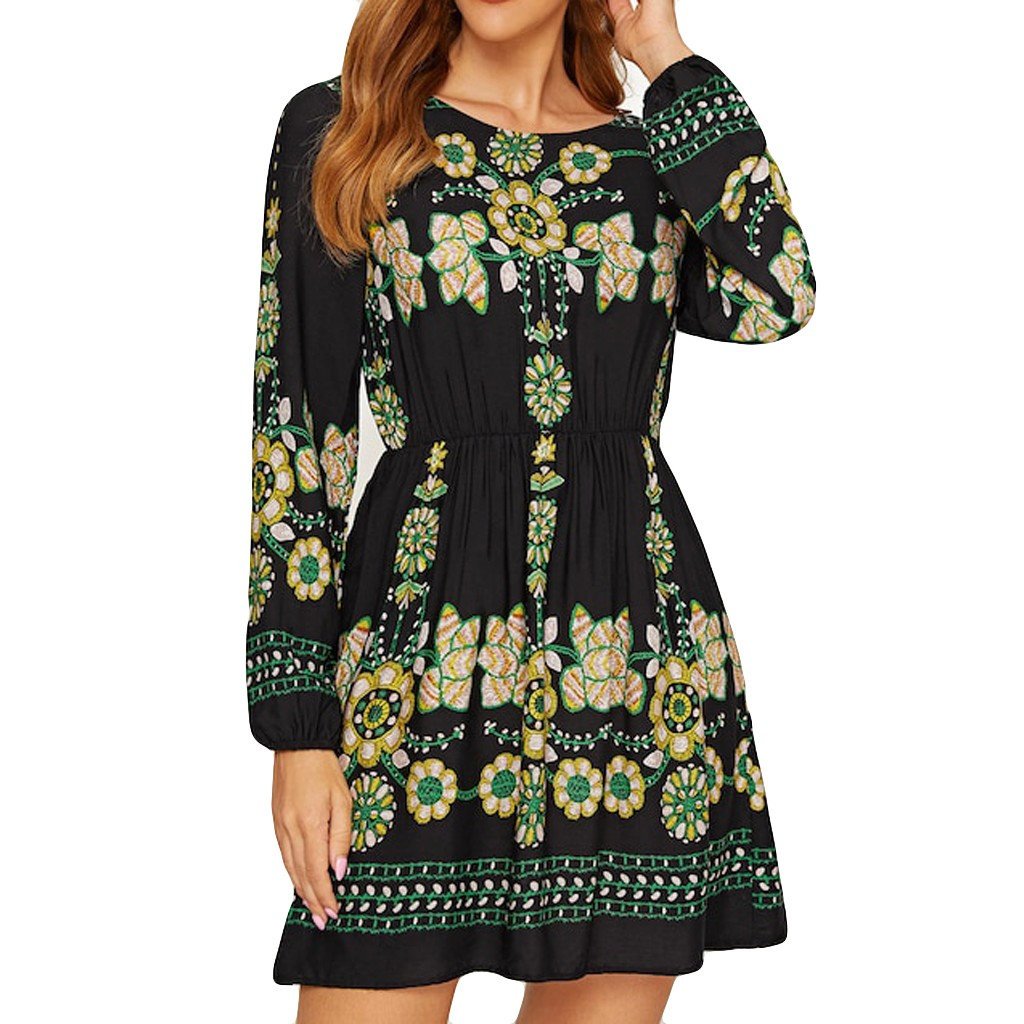 vestido de mujer Womne Bobo O Neck Fashion Embroidery Long Sleeve Mini Dress femme robe