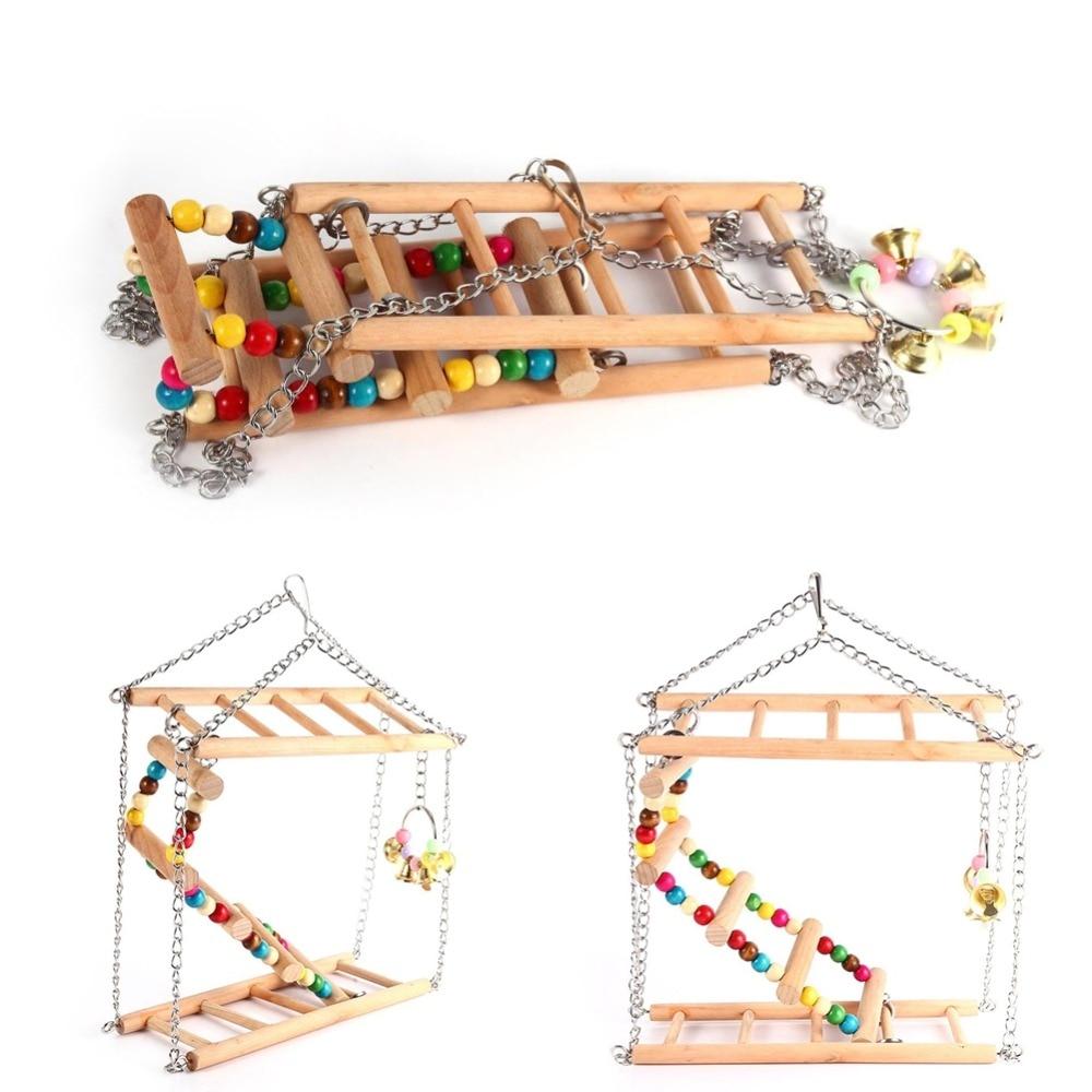 Kimi papagaio pássaro brinquedo de madeira escada