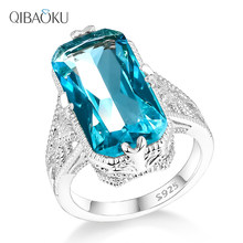 Aquamarine Zircon Hollowed-out Carved 925 Sterling Silver Rings Exaggerated Silver Jewelry for Women Engagement Wedding Ring