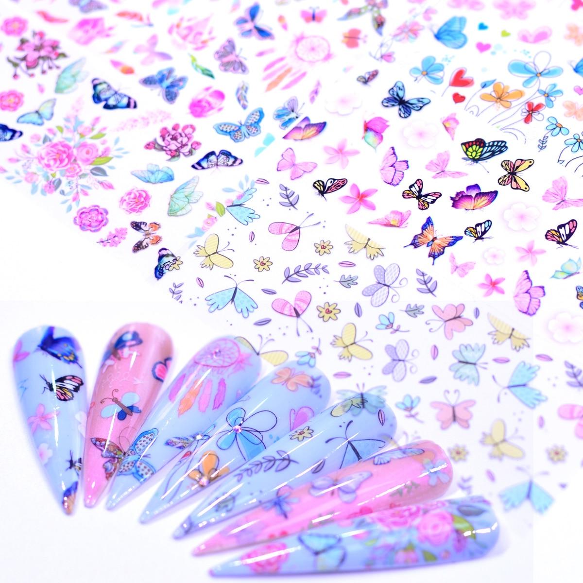 10 шт., декоративные наклейки бабочки для ногтей|Стикеры и наклейки| | АлиЭкспресс