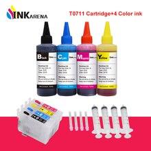 INKARENA T0711 XL чернильный картридж для принтера Epson Stylus S20 S21 SX100 SX110 SX105 SX115 SX200 SX205 SX209 SX210+ 4 цвета пополнения чернил комплект
