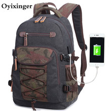 Men Canvas Backpacks Usb Printing Middle School Bags For Teenage Boys Student Men's Both Shoulders 17 Computer Backpack Mochilas yulo new washable canvas bag usb printing middle school student bag retro men s shoulder computer backpack