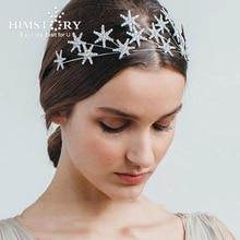 Himstory Silver Star Rhinestone Bridal Crown Elegance Wedding Headwear Fashion Crystal Princess Hair Accessories