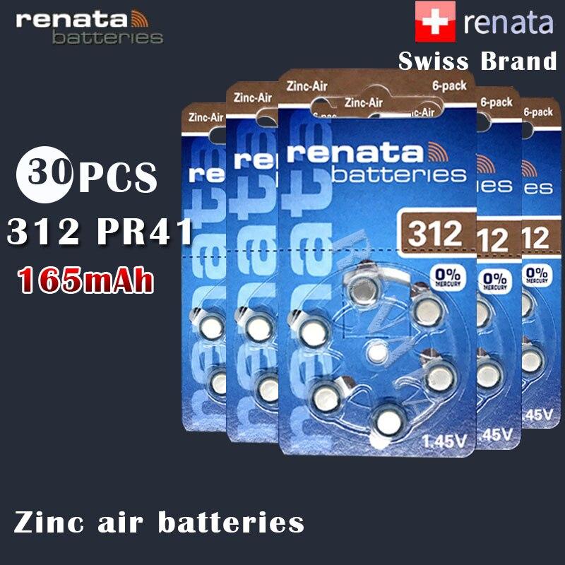 30pcs Renata 312 1.45v 165mah Zinc Air Batteries Pr41 A312 For Hearing Aid Batteries Button Coin Cell
