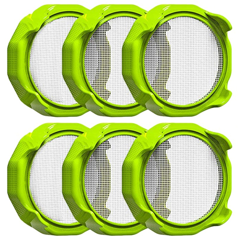 6PC Germination Cover, Filter Cover, Germination Cover For Wide Mouth Mason Jar, Stainless Steel Sprouting Can Lid, Beans