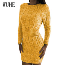 WUHE Autumn Solid Knitted Sweater Dresses Elegant Hollow Out Twist Pullover Female Dress Vestidos Feminino for Women