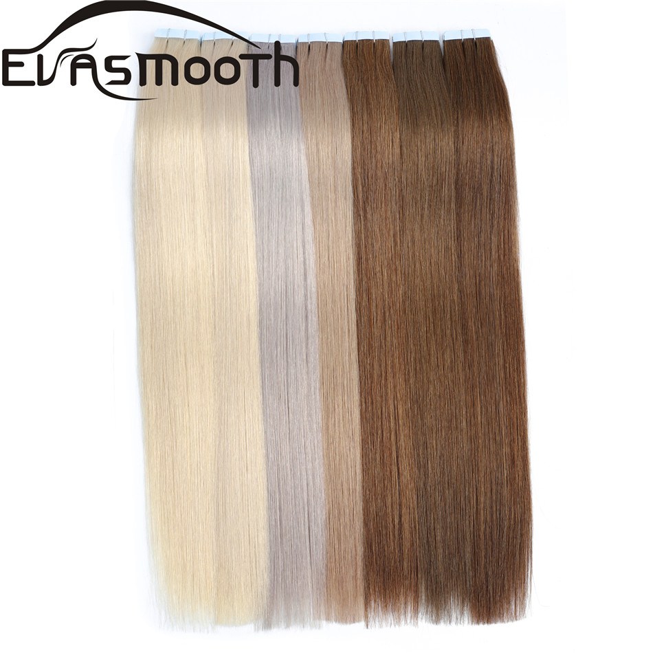 EVASMOOTH Skin Weft Machine Remy Tape In Human Hair Extension 20pcs 40pcs 80pcs Adhesive Tape In Hair Extensions 12