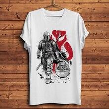 The Mandalorian warrior with baby Yoda funny t shirt men sum