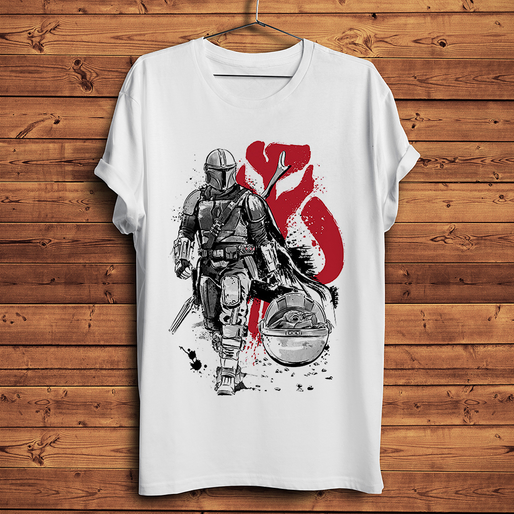 The Mandalorian Warrior With Baby Yoda Funny T Shirt Men Summer New White Casual Homme Short Sleeve Cool Tshirt Unisex Gift