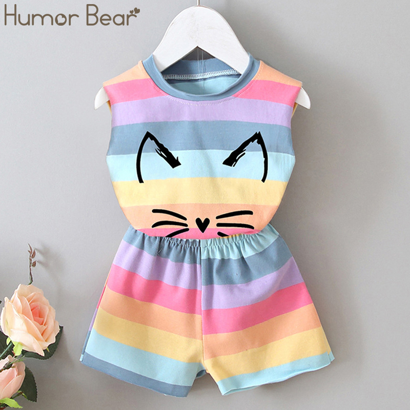Humor Bear 2020 Summer New Children Clothing Set Girls Colorful Stripe Cartoon Vest + Shorts 2PCS Suit Baby Kids Clothes