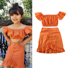 Outfit Baby-Girl Off-Shoulder Fashion Summer Kids T-Shirt Dress Skirt Crop 1-6-Years