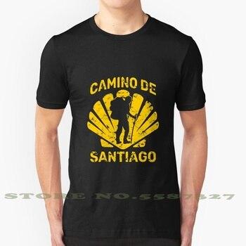 Camiseta para hacer senderismo De Camino De Santiago, camiseta blanca y negra para hombre y mujer