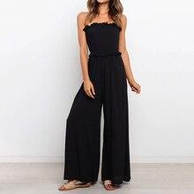 Tube Tops Ruffles Sleeveless Women Jumpsuit Off Shoulder Solid Wide Leg Pants Female Jumpsuits 2021 Summer Elegant Lady Rompers