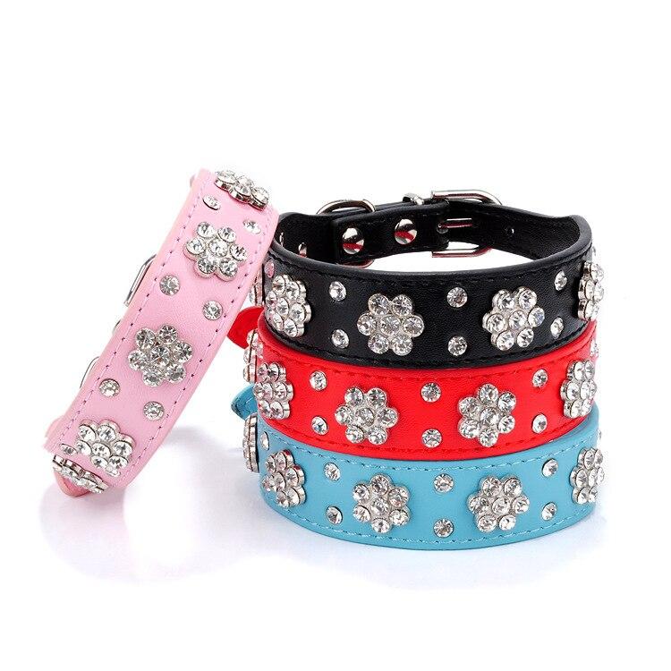 PU Pet Collar Diamond Set Plum Dog Neck Ring Rhinestone Petal Dog Traction Rope Pet Supplies Dog Chain
